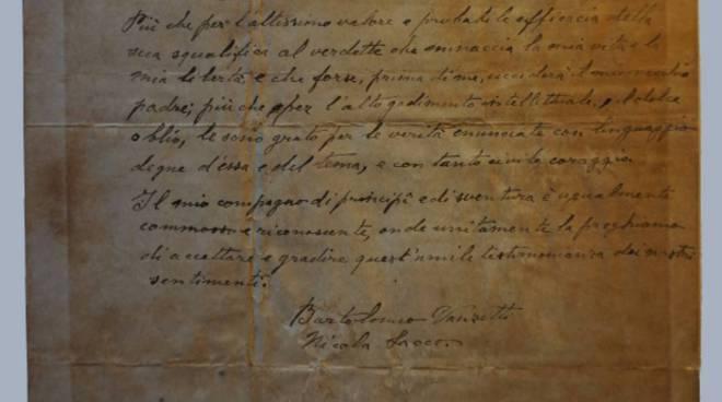 La lettera ricevuta da Rocco Brindisi