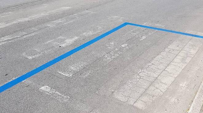 Strisce blu su strisce pedonali in via del Gallitello (Foto da profilo Fb Potenza denuncia)