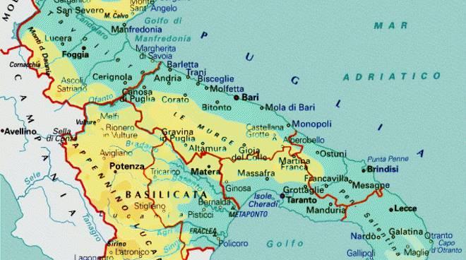 Cartina Puglia e Basilicata