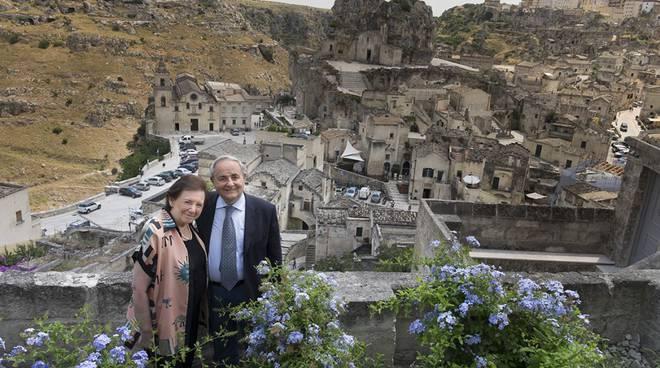 Il sindaco di Matera, Raffaello de Ruggeri e sua moglie Maria Sinatra