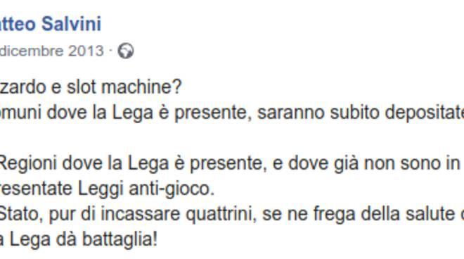 Salvini sul gioco d'azzardo