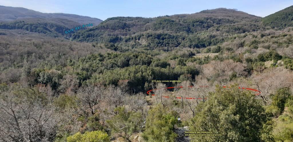 Belvedere del Romitorio (Fiume Frido) e sito dove sorgerà la centrale