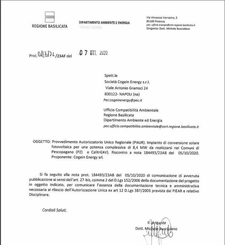 lettera dipartimento