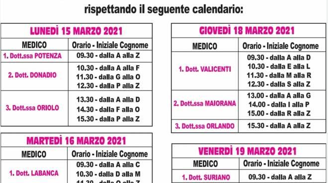 Calendario vaccinazione Policoro