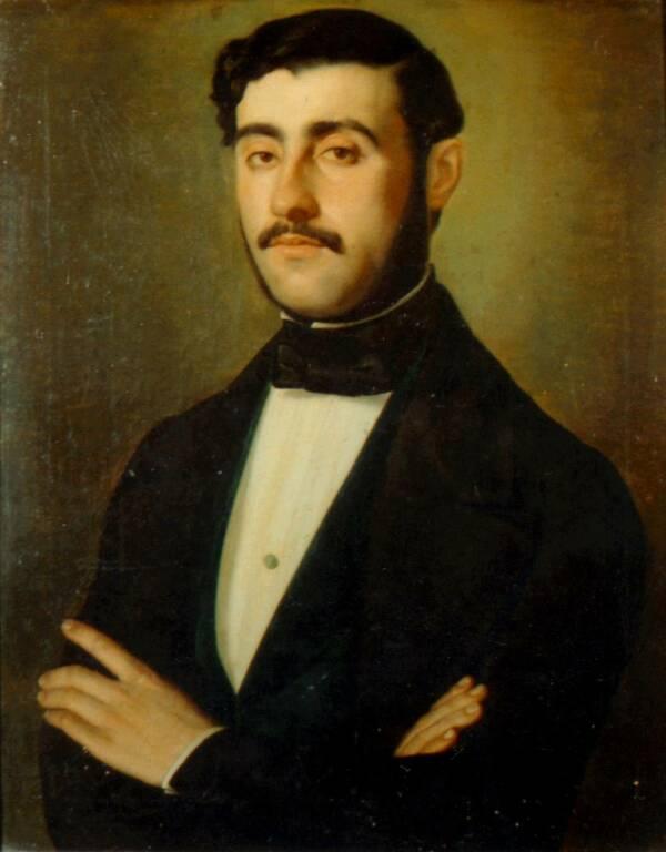 RAFFAELE BARBIERI (1846): Ritratto di Camillo d'Errico, olio su tela 63x50