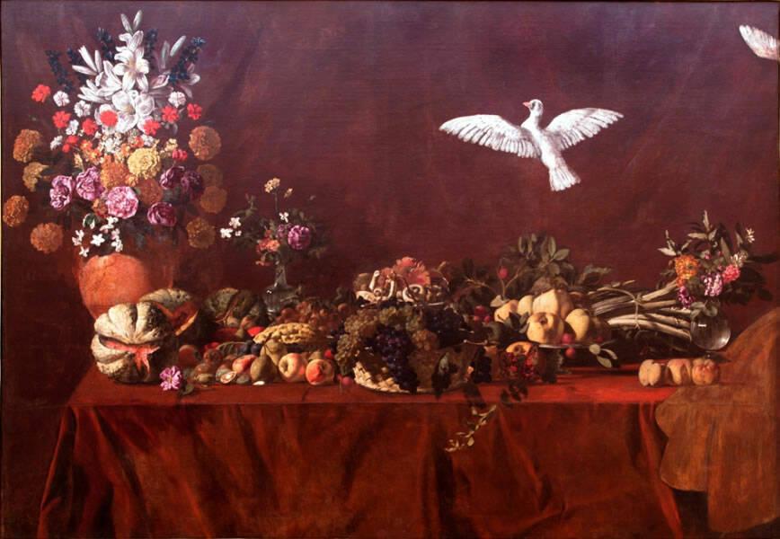 MAESTRO DI PALAZZO SAN GERVASIO (ca. 1625-1635), Natura morta con colomba. Olio su tela, cm 144 x 212D'Errico